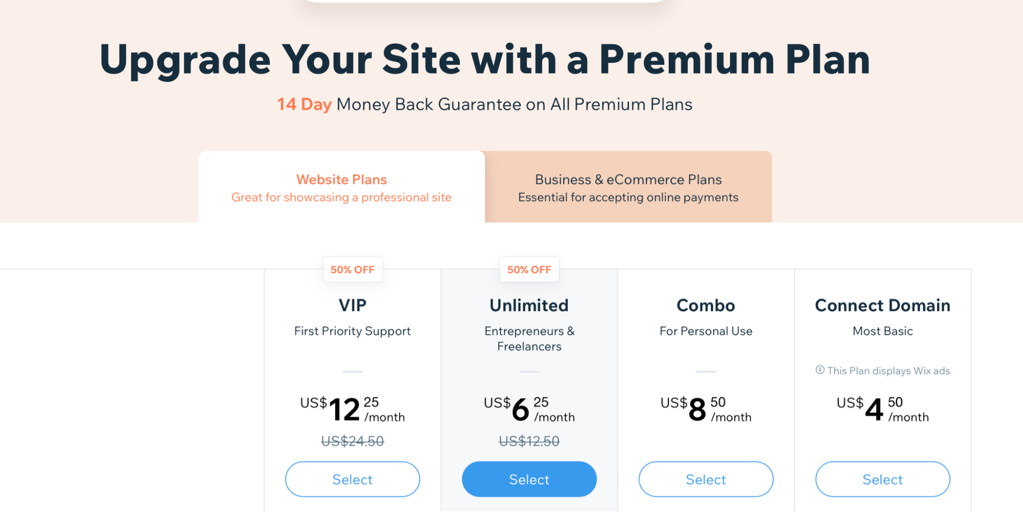 Wix 50% discount