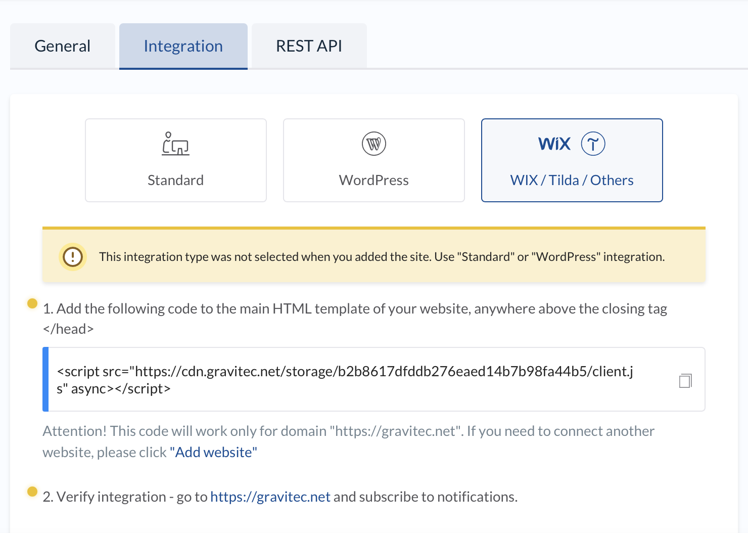 Add push notifications to a Wix site