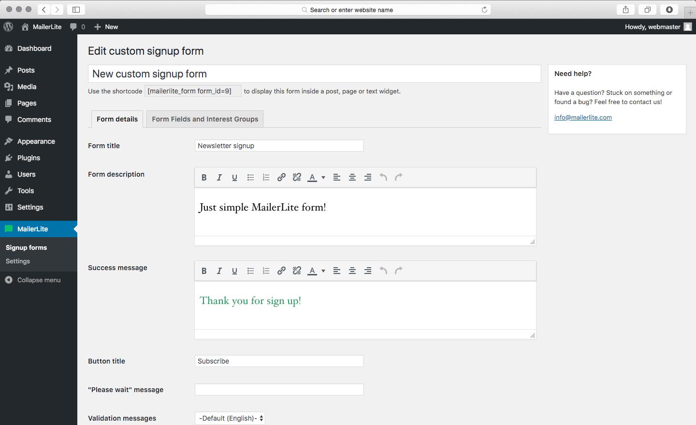 MailerLite email subscription plugin