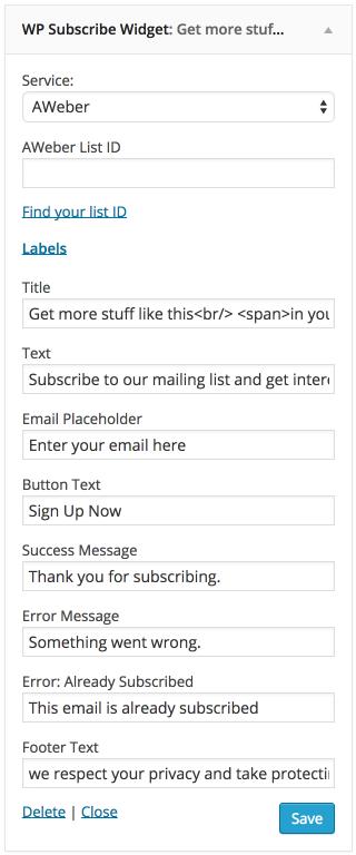 WPSubscribe plugin