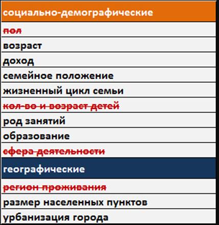 social-demo segments table